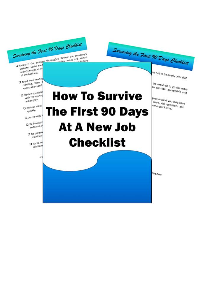 How to Survive The First 90 Days At A New Job Checklist